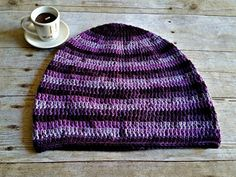 Purple Stripe Slouch  Crochet Slouchy Beanie  by YarnOverDesign