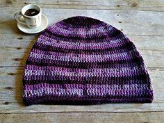 Purple Stripe Slouch  Crochet Slouchy Beanie  by YarnOverDesign