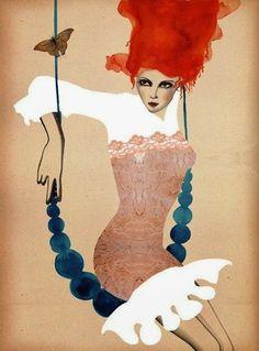 Peggy Wolf woman swing illustration