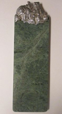 """Arthur Court Green Marble Cheese Cutting Board 19"""" Pewter Bears Sushi Tray '88 #ArthurCourtDesigns"""