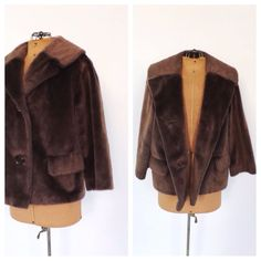 Vintage 1950s 1960s Brown Fur Coat Mad Men Brazotta Styled by Fairmoor Cropped Fur Jacket Outerwear Winter Jacket Fur Blazer Size Medium
