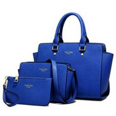 Elegant Women's Tote Bag With PU Leather and Letter Print Design (BLUE) | Sammydress.com Mobile