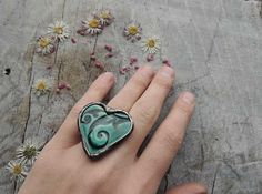 blue ring Unique rings for her love ornament Ring by MARIAELA