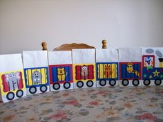 Circus train craft - treat bags for last night of vbs Preschool Circus, Circus Activities, Circus Crafts, Carnival Crafts, Fall Carnival, Activities For Kids, Crafts For Kids, Circus Classroom, Circus Birthday