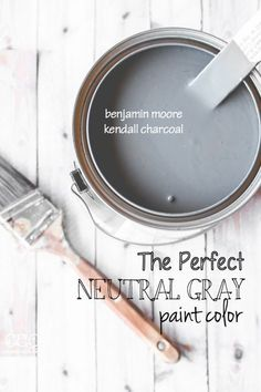 Love for an exterior paint Benjamin Moore 'Kendall Charcoal' - The Perfect Neutral Gray Paint Color - Creative Cain Cabin Neutral Gray Paint, Grey Paint Colors, Interior Paint Colors, Wall Colors, House Colors, Interior Painting, Dark Gray Paint, Bedroom Paint Colours, Dinning Room Paint Colors