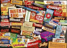 Old chocolate bars from the Gibsons Sweet Memories of the jigsaw puzzle. British Candy, British Sweets, Ravensburger Puzzle, My Childhood Memories, Sweet Memories, 1970s Childhood, Fini Tubes, 80s Sweets, British Chocolate
