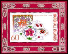 1999 year of the rabbit, rabbit postal stamp, Marshall Islands
