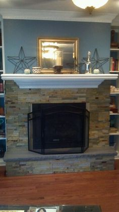 Stack Stone Fireplace Coastal Cottage Cool Stone Tile