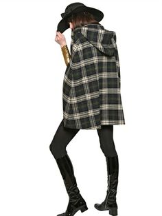 Saint Laurent Plaid Wool Cape