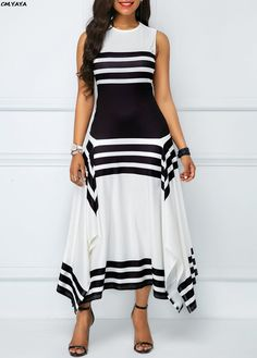 New women sleeve less o-neck black white stripes irregular hem a-line long maxi dress fashion casual vestidos 2 colors SUMMER OUTFİTS, , Trendy Dresses, Tight Dresses, Women's Fashion Dresses, Sexy Dresses, Casual Dresses, Party Dresses, Hijab Casual, Modest Dresses, Fashion Clothes