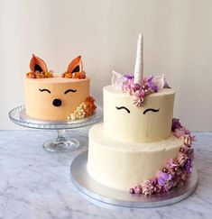 So kawaii I can't resist posting ☺ unicorn 🦄 & fox 🦊 cakes for a bespoke order Pretty Cakes, Cute Cakes, Jasmine Cake, Christening Cake Girls, Fox Cake, Woodland Cake, Animal Cakes, Novelty Cakes, Cata