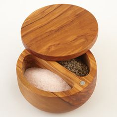 CHEFS Olive Wood Dual Bin Salt Box  Artistically-carved salt keeper with dual compartments preserves salt and pepper, keeping spices fresh and moisture-free. $39.95