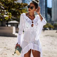 2019 Sexy Bikini Cover Up Crochet Knitted Beach Cover Up Women Swimsuit Cover Up Beach Dress Bathing Suits Cover-Ups Beachwear Swimwear Cover Ups, Bikini Cover Up, Sexy Bikini, Bikini Swimsuit, Swimsuit Cover Up Dress, Bikini Dress, Women Bikini, Bikini Beach, Floral Swimsuit