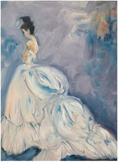 Painting - woman in white dress
