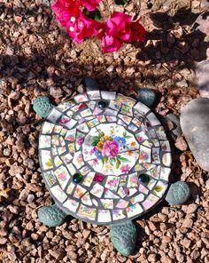 Mosaic Cast Iron Turtle with Vintage China and Glass Gems