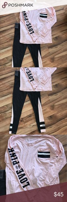 Pink room yoga set Victoria's Secret pink room set. Baby pink and black with dark grey pants. Sign of wear as shown in pics. Also some piling on pants. Xs shirt and small pants PINK Victoria's Secret Pants Leggings
