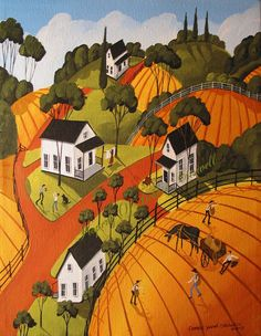 Original Painting Folk ART Primitive Farms Crops Mule Donkey Football Houses DOG | eBay