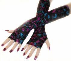 Painting Abstract- Arm Warmers watercolors Fingerless gloves wrist cuffs sleeves red magenta purple green blue black gothic feminine  by mellode www.etsy.com/shop/mellode