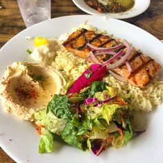 Rice, grilled salmon, Mediterranean salad and hummus! #today #pescetarian #cleaneats #eatclean #salmon #grilled #mediterranean