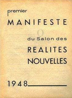 RÉALITÉS NOUVELLES Manifesto cover, 1948