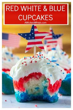 Red White and Blue Patriotic Cupcakes 4th Of July Desserts, Fourth Of July Food, July 4th, Holiday Desserts, Holiday Recipes, Fun Easy Recipes, Other Recipes, Yummy Recipes, Cupcake Recipes