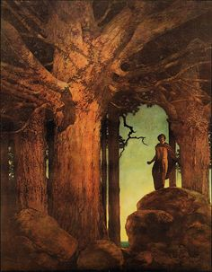 Maxfield Parrish illustration for Jason & the Talking Oak, 1910. 'He looked up among the knotted branches and green leaves, and into the mysterious heart of the old tree'.