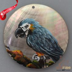 HAND PAINTED PARROT BIRD NATURAL MOTHER OF PEARL SHELL PENDANT ZL30 06073 #ZL #PENDANT