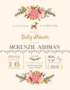 Cute baby shower invitation with a woodsy theme! We loved the \