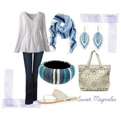 A fashion look from March 2012 featuring bohemian blouses, slim fit boot cut jeans and silver flat shoes. Browse and shop related looks.