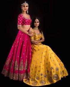 Stunning yellow and pink color lehenga from Banjara collection of Mrunalini RAo.Shop these timeless and elegant Lehengas by MrunaliniRao at aza fashions Mumbai. 03 August 2017