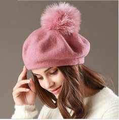 British style beret hat with pom pom for women soft wool hats autumn