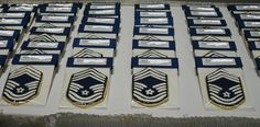 Hand cut and hand iced Air Force Chief Master Sgt cookies for a retirement ceremony. https://www.facebook.com/MakinSweets?ref=hl