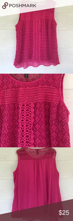 Pink lace tank Fully lined. Size 3x. 27 bust 30 length. All measurements are approximate. Lace overlay over whole front. Sleeveless. new directions Tops