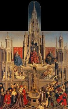 UNKNOWN MASTER, Flemish (active c. 1450)  Click! The Fountain of Grace  c. 1450 Oil on panel, 181 x 116 cm Museo del Prado, Madrid  In this Flemish allegory, Christ, the source of grace, sits enthroned in the centre under a Gothic canopy flanked by the Virgin and St John. Musical angels play in a Paradise Garden, while in the foreground the Water of Life nourishes the hierarchy of the church on the left, while opposite them the Jews, led by Synagogue (his staff broken) reject Christ's…