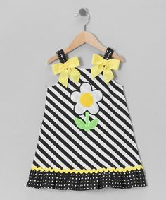 Take a look at this Navy & White Stripe Daisy Dress - Toddler & Girls by Youngland on #zulily today!