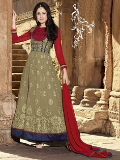 Tan Color Party Wear Embroidered Anarkali Suit