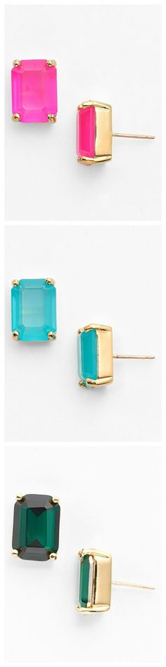 So many colors to choose from! All of these Kate Spade stone stud earrings will make a great gift.