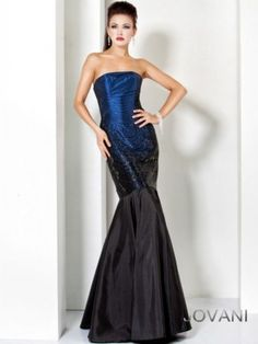 Jovani 6917 - Long, strapless blue-black mermaid evening gown for formal occasions.  From Madame Bridal.