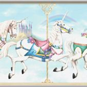 wall+decal+of+carosel+horsesall+decal+of+cinderella's+carriage | Carousel Unicorn Minute Mural ($299)