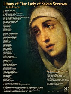 www.Schmalen.com Litany of Our Lady of Seven Sorrows by Pope Pius VII. Composed while held in captivity by Napoleon. See: https://www.ewtn.com/faith/teachings/maryd6g.htm