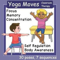 Incorporating yoga into your classroom movement breaks or your therapy routine has the benefits of increasing focus, concentration, working memory, body awareness, executive function and self-regulation. These yoga cards can be hung on the wall of a class