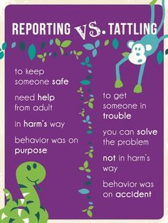 Poster for teachers' classrooms or the office. Useful for elementary students to clarify the differences between reporting and tattling.