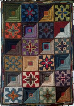 Quilty Square Rugs Quilt Rag Wool Rug Hooking