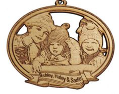 5 Custom photo ornament laser cut and etched wood by Chuddywinks Photo Ornaments, Wooden Ornaments, Christmas Ornaments, Cnc, Lazer Cutter, Laser Cutter Projects, Laser Art, Wood Cutouts, Photo Magnets