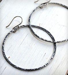 Thick Silver Hoop Earrings