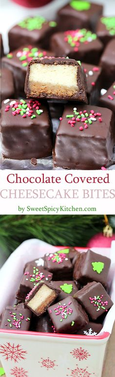 Chocolate Covered Cheesecake Bites made of graham cracker base and a cheesecake layer, covered with chocolate are so delicious. Yummy…They are perfect for holidays – fancy looking and easy to prepare they will make your holiday atmosphere complete. Holiday Treats, Christmas Treats, Holiday Recipes, Christmas Holiday, Edible Christmas Gifts, Christmas Sugar Cookies, Cheesecake Bites, Cheesecake Recipes, Mini Desserts