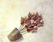 Straight Pins 6 decorative copper butterfly champagne cocoa espresso Swarovski sewing room, craft room, wedding decor TAGT MCTT tenX