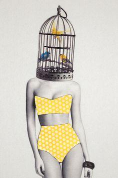 Bird Brained Babe Art Print by Jenny Liz Rome   Society6