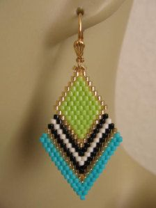 These pretty beadwoven earrings are lightweight & petite, & handmade with opaque chartreuse, turquoise, matte cream, opaque black, & golden delica seed beads. This is my own design.  They measure 2 long which includes the plated leverback earwires, & just about 7/8 wide.