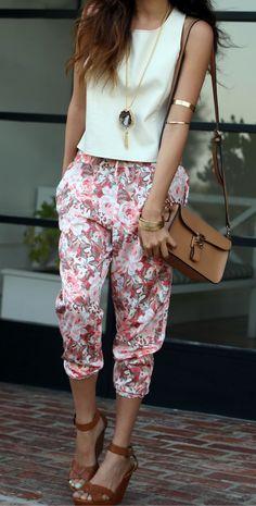 Pink Floral Pants - Sazan